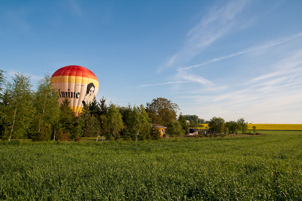 Ballonfahrt Landung